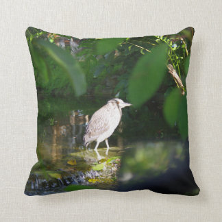 "Night Heron Bird, Throw Pillow 16"" x 16"""