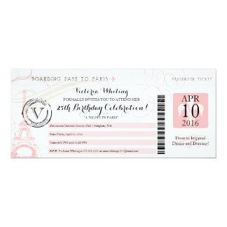 Night in Paris | Happy Birthday 10 Cm X 24 Cm Invitation Card