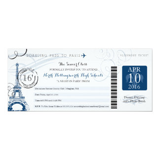 Night in Paris School Senior Prom 10 Cm X 24 Cm Invitation Card
