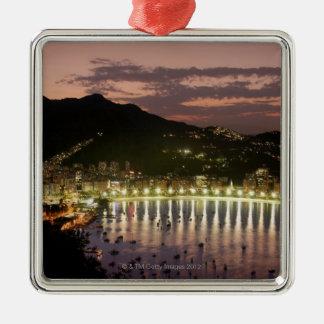 Night in Rio de Janeiro, Brazil Silver-Colored Square Decoration