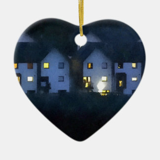 Night In The Town Ceramic Heart Decoration