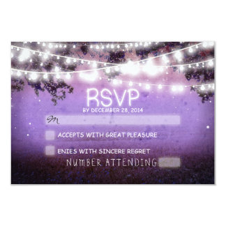 night lanterns purple wedding rsvp 9 cm x 13 cm invitation card