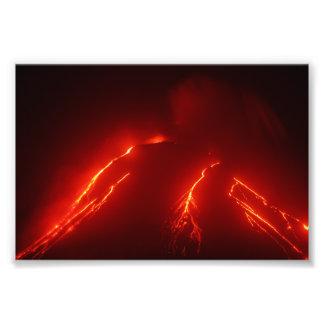 Night lava explosion Klyuchevskaya Sopka Photo Print