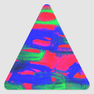NIGHT LIFE Bold Neon Abstract Watercolor Painting Triangle Sticker