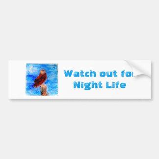 Night Life Owl Art Bumper Sticker