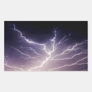 Night Lightning Rectangular Sticker