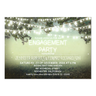 night lights rustic engagement party invitations
