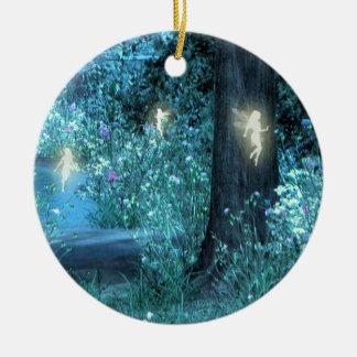 Night Magic fairy flight Orniment Round Ceramic Decoration