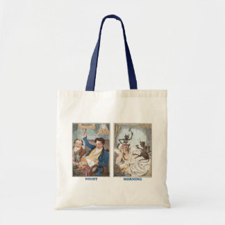 Night - Morning - Antique Caricature Canvas Bag