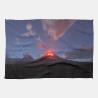 Night mountain landscape, eruption volcano tea towel