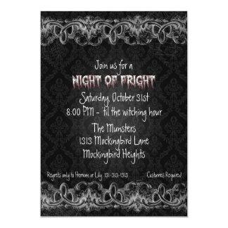Night of Fright Black Haunted Halloween Invitation