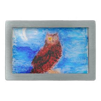 Night Owl Bird Art Belt Buckle