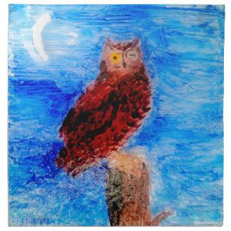 Night Owl Bird Art Napkin