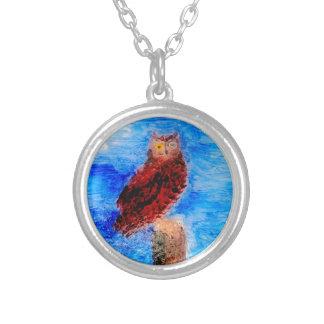 Night Owl Bird Art Silver Plated Necklace