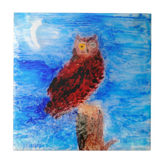 Night Owl Bird Art Tile