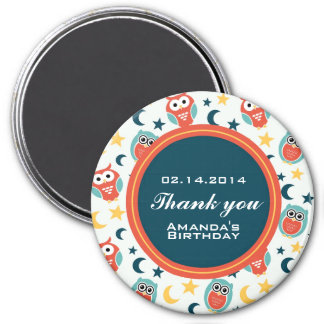 Night Owl Birthday Party Thank You Magnet