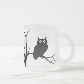 Night owl frosted glass coffee mug
