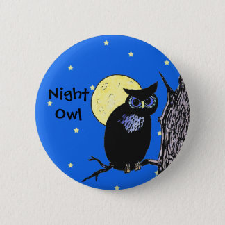 Night Owl in the Moon Button