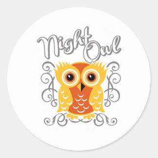Night Owl Round Sticker