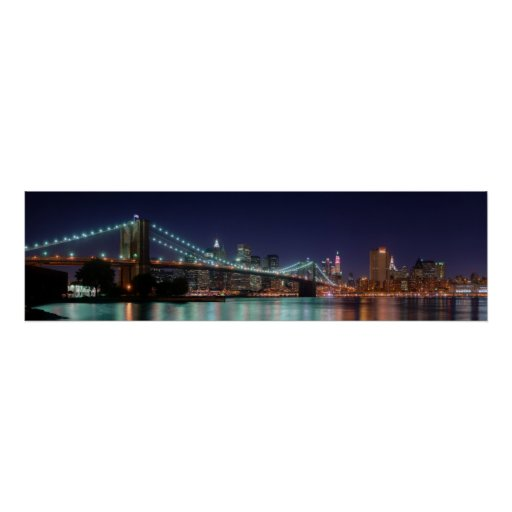 Night Panorama of Brooklyn Bridge Poster