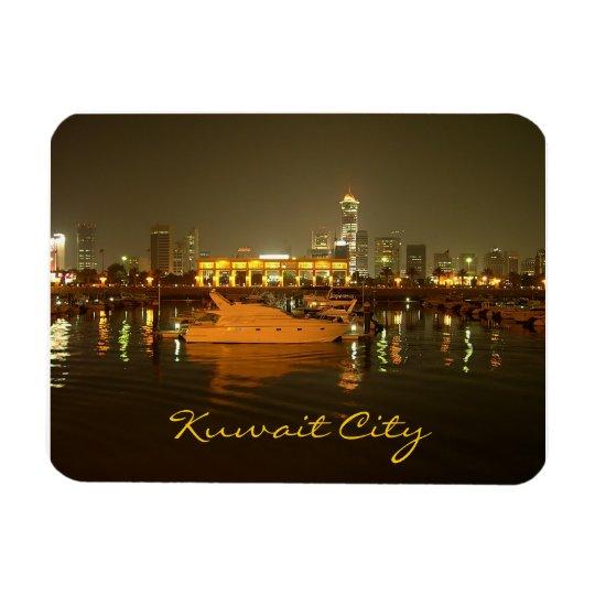 Night panorama of Kuwait city Rectangular Photo Magnet