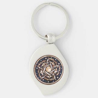 Night Pentacle Swirl Keychain Silver-Colored Swirl Key Ring