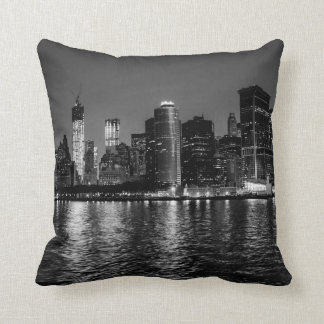 Night Photo of the New York City Skyline Landscape Cushion