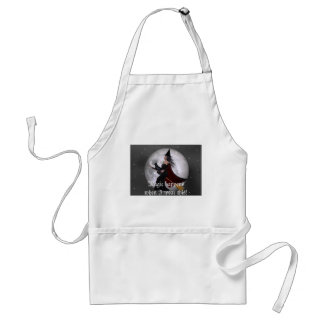 Night Ride :: Witch & Her Cat Riding in the Night Adult Apron
