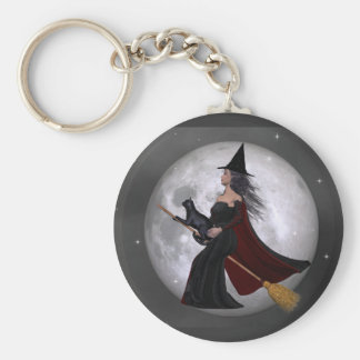 Night Ride :: Witch & Her Cat Riding in the Night Basic Round Button Key Ring