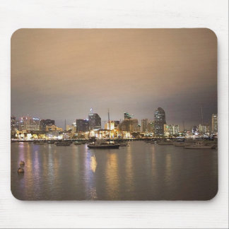 Night San Diego Sailboats Skyline Mouse Mat
