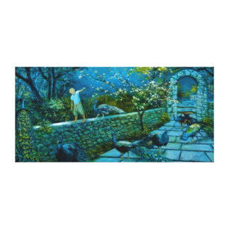 Night Scene in Peacock Garden canvas print