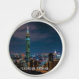 Night Scene of Taipei 101, Taiwan Silver-Colored Round Key Ring