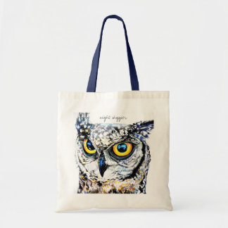 Night shopper owl tote bag