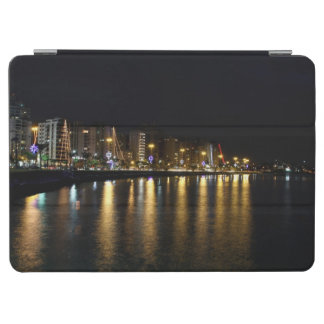 Night shot of buildings and Christmas lights iPad Air Cover