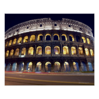 Night shot of Colosseum Poster