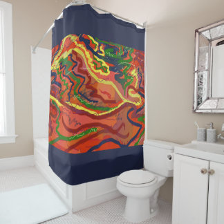 Night Signals Abstract Art Shower Curtain