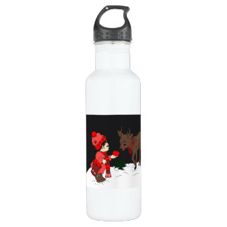 Night Sky Child feeding reindeer 710 Ml Water Bottle