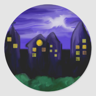 Night sky city skyscrapper canvas art round sticker