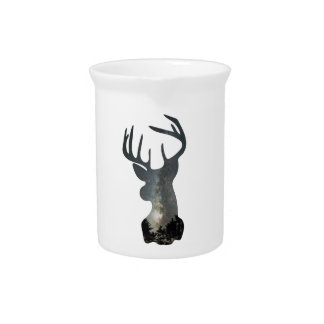 Night sky deer silhouette beverage pitcher
