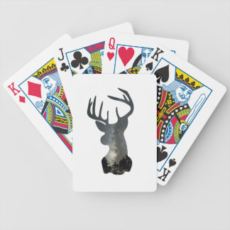 Night sky deer silhouette bicycle playing cards