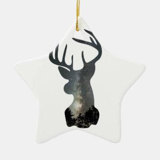 Night sky deer silhouette christmas ornament
