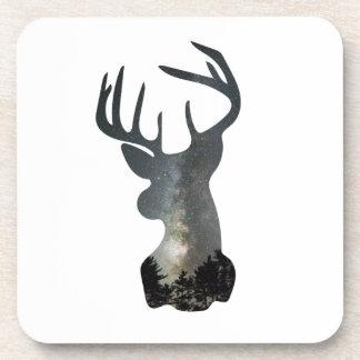 Night sky deer silhouette coaster