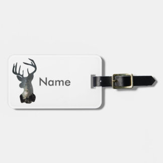 Night sky deer silhouette luggage tag