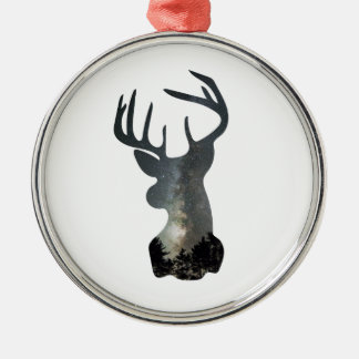 Night sky deer silhouette Silver-Colored round decoration