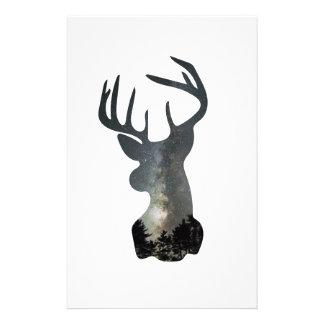 Night sky deer silhouette stationery