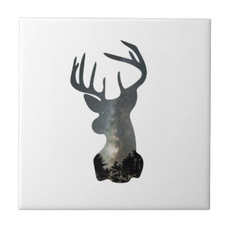 Night sky deer silhouette tile