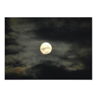 Night Sky - Full Moon and Dark Clouds 13 Cm X 18 Cm Invitation Card