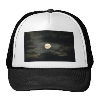 Night Sky - Full Moon and Dark Clouds Mesh Hats
