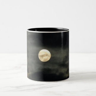 Night Sky - Full Moon and Dark Clouds Two-Tone Coffee Mug