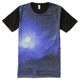 Night Sky Full Moon Mountains Blues Men's Shirt